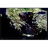 Satellite View of Greece Print