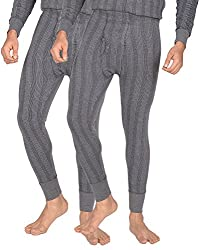 Dora Men's Poly Cotton Thermal Pants (Pack of 2, 1151-Melange_80, Mélange, 80)