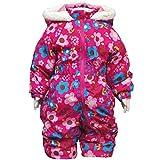 ガールズベビースキーウェア[Blue Mart(ブルーマート)]女の子|女児|子供|赤ちゃん用花柄ジャンプスーツ|スノーコンビ雪遊び 95cm ピンク