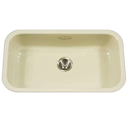 Houzer PCG-3600 BQ Porcela Series Porcelain Enamel Steel Undermount Single Bowl Kitchen Sink, Large, Biscuit