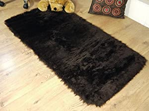 Chocolate brown faux fur oblong rectangle sheepskin rug 70 x 140 cm