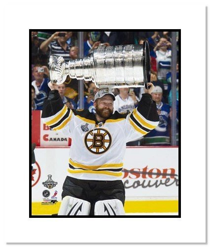All About Autographs AAA-11600m Tim Thomas Boston Bruins NHL Double Matted 8x10 Photograph Stanley Cup Champs with Cup