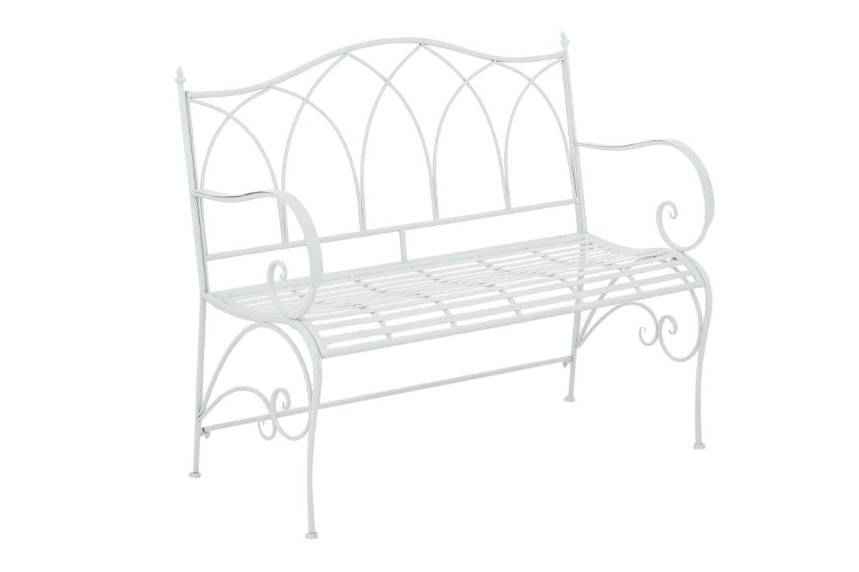 CLP Gartenbank ORKUN im Landhausstil, aus lackiertem Eisen, 107 x 50 cm – aus bis zu 6 Farben wählen weiß günstig