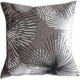 Flocking Dandelion Grey Black Silver Throw Pillow Case Decor Cushion Covers Square 18*18 Inch Cotton Blend