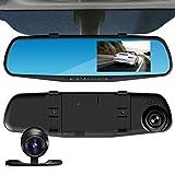ESTGO ルームミラー型 ドライブレコーダー 2カメラ搭載 4.3インチ 1080P Full HD高画質 170広視野角 G-sensor 動体検知 暗視機能 常時録画 車載 防犯 カメラ