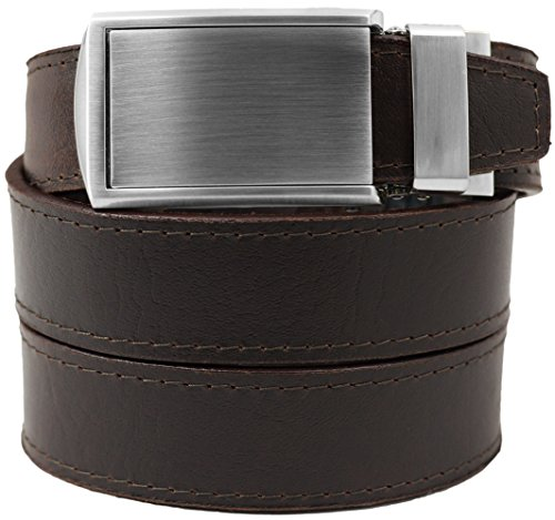 Top Grain Brown Leather Belt with Silver Buckle