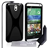 Yousave Accessories HTC Desire 610 Case Black Silicone X-Line Cover With Car Charger
