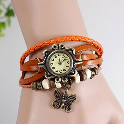 Mo2Mo@Classic Elegant Brown Leather Strap Butterfly Roma Number Dial Quartz Woman Ladies Watch Bracelet (Orange)