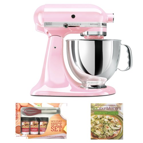 Kitchenaid Ksm150Pspk Artisan Series 5-Quart Tilt-Head Stand Mixer In Pink W/ Mini Whisk Spice Set & Cooking Book