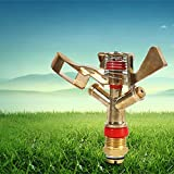 Generic Gold 1/2 Inch Connector Copper Rotate Rocker Arm Water Sprinkler Spray Nozzle Garden Irrigation Sprinkler