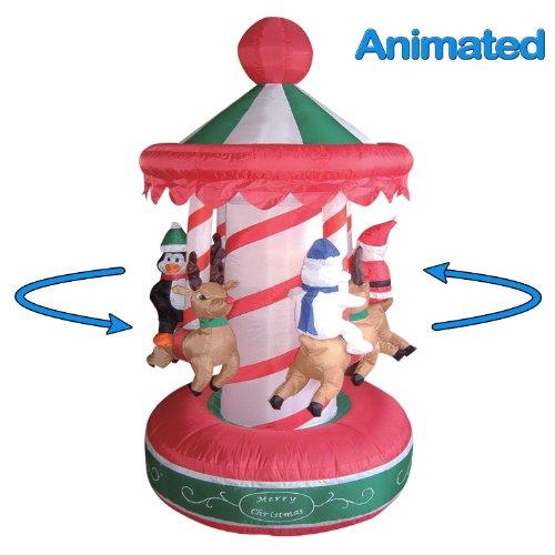 6.5 Foot Animated Christmas Inflatable Rotating Carousel