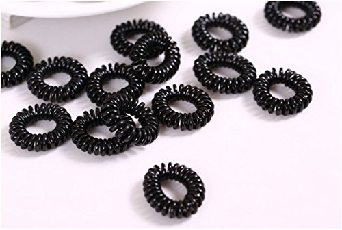 ILOVEDIY 10Pcs Black Ponytail Holder Tele Wire Cord Head Ties Hair Band Rope for Kids (Hair Ties Telephone compare prices)