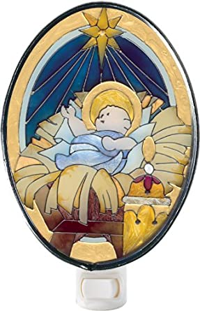 Nativity - Hand Painted Stained Glass Nightlight