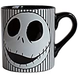 Silver Buffalo NB0232 Disney Nightmare Before Christmas Skull Stripes Ceramic Mug, 14 oz, Black