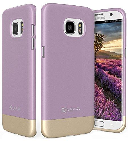 Galaxy S7 Edge Custodia, Vena [iSlide][Two-Tone] Dock-amichevole Slim Custodia Rigida Case Cover Copertura per Samsung Galaxy S7 Edge (Lavanda / Oro)