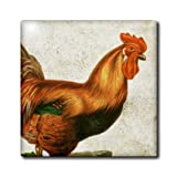 ct_108274_6 Cassie Peters Chickens - Vintage Rooster Grunge Digital Art by Angelandspot - Tiles - 6 Inch Glass Tile