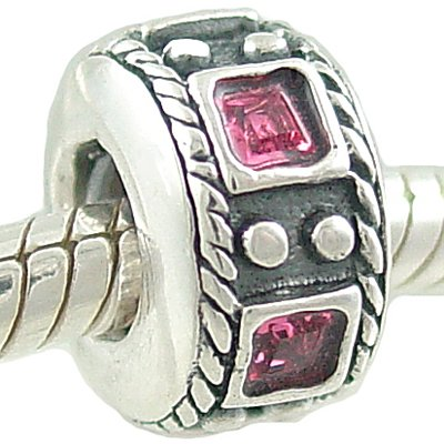 Authentic BIAGI OCTOBER Pink Rose CZ Sterling SILVER BIRTHSTONE Charm BEAD fits Pandora and Chamilia Bracelets GIFT BOXED