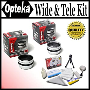 Opteka 0.5x Wide Angle & 2x Telephoto HD² Pro Lens Set For Sony DCR-SR37, SR38, SR40, SR42, SR45, SR46, SR47, SR48, SR50, SR52, SR57, SR60, SR62, SR65, SR67, SR68, SR70, SR72, SR77, SR80, SR82, SR85, SR87, SR88, SR90, SX83, TRV11, TRV15, TRV16, TRV17, TRV18, TR19, TRV22, TRV25, TRV27, TRV33, TRV38, TRV39, TRV6, HDR-CX100, CX110, CX150, CX300, CX350, CX360, CX370, HC3, PJ10, PJ30, PJ50, SR1, SR10, TD10, UX1, UX10, UX20, XR100, XR101, XR150, XR200, XR350 and HXR-MC1 Digital Camcorders