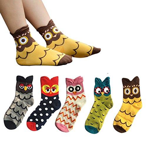 Cute Cartoon calzini, Moliker 5 paia calzini termici vari disegni / Colori adulti unisex Calzini (Gufo)