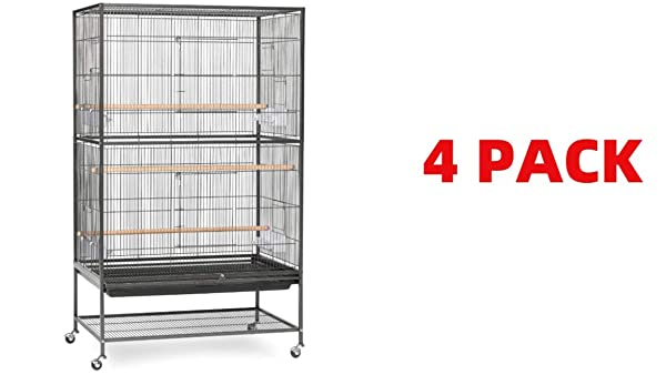 Prevue Hendryx Pet Products Wrought Iron Flight Cage (Large Pack of 4, Black Hammertone Pack of 4) (Color: Black Hammertone pack of 4, Tamaño: Large pack of 4)