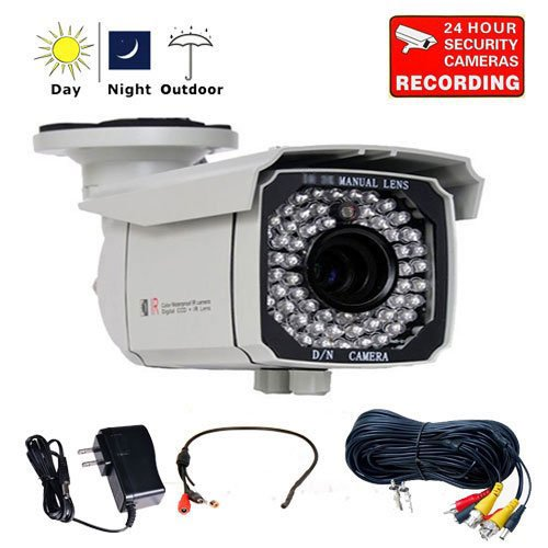 "Videosecu Day Night 700Tvl Ip66 Zoom Outdoor Security Camera Built-In 1/3"" Sony Exview Ccd Ii Effio-E Dsp 4-9Mm Lens 65 Ir Leds For Cctv Dvr Home Surveillance With Mini Audio Microphone, Power Supply And Audio Video Power Extension Cable Ckb"