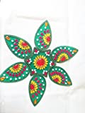 Green Flower Acrylic Rangoli - Hand Crafted