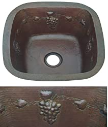 15 inch Artisan Copper Square Grapevine Design Sink
