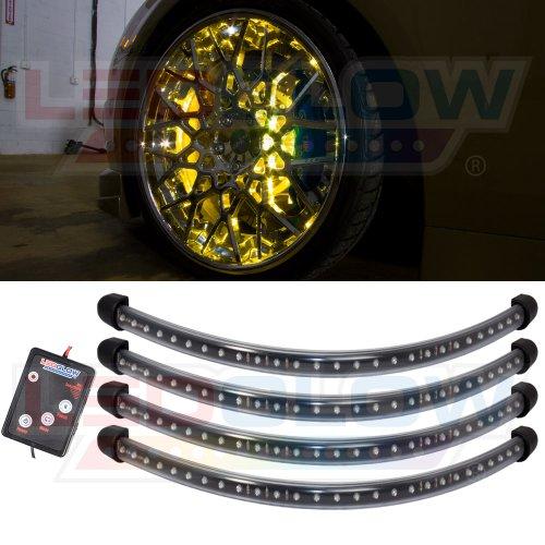 4Pc Yellow Flexible Led Wheel Well Fender Light Kit