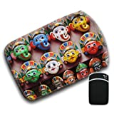 Colourful Face Masks from Kathmandu Nepal For Amazon Kindle Fire & Kindle 3G Keyboard Soft Protection Neoprene Case Cover Sleeve Bag With Pocket which is Ideal for Headphones, Data Cable etc