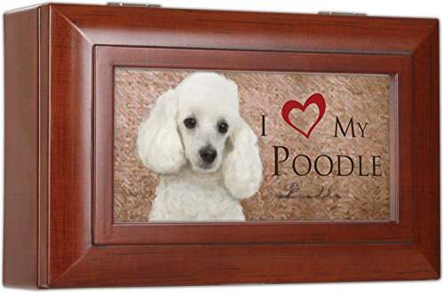 I Love My Poodle Cottage Garden Woodgrain Finish Petite Jewelry Music Musical Box - Plays Song Wonderful World
