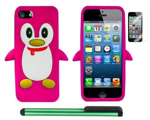 Review:  Hot Pink Penguin Move On Future Silicone Skin Premium Design Protector Soft Cover Case Compatible for Apple Iphone 5 (AT&T, VERIZON, SPRINT) + Screen Protector Film + Combination 1 of New Metal Stylus Touch Screen Pen (4