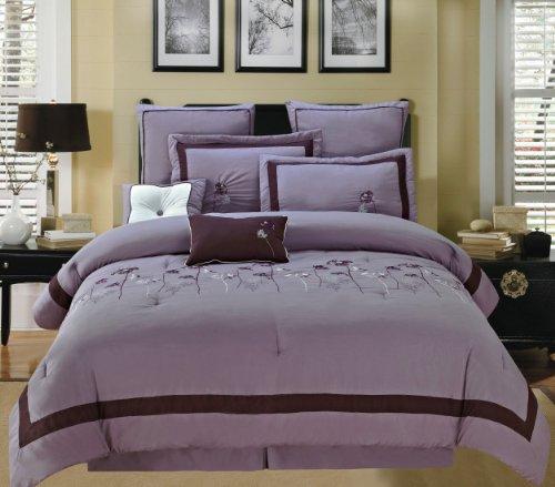 Luxury Home 8-Piece Luxurious Comforter Set, King, Gardenia Violet front-887524