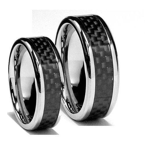 matching 8mm titanium black carbon fiber rings his hers ring set wedding bands engagement rings - Carbon Fiber Wedding Rings