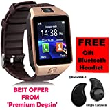 Premium Design SAMSUNG Galaxy J7 Compatible Bluetooth Smart Watch DZ09 Phone With Camera And Sim Card & SD Card Support With Free S530 Bluetooth Headset (Random Colour)