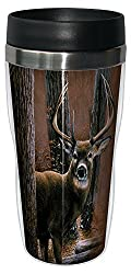 Tree-Free Greetings 77000 Woodland Sentry Buck Collectible Art Sip N Go Travel Tumbler, 16-Ounce, Stainless Steel, Multicolored