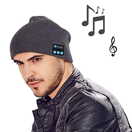 MOCREO®Fashion Bluetooth Knit Hat with Stereo Headphones and Microphone Warm Chunky Soft Beanie Hands Free Talking for iPhone Samsung Android And iPad Men and Women Christmas Gift(Gray)