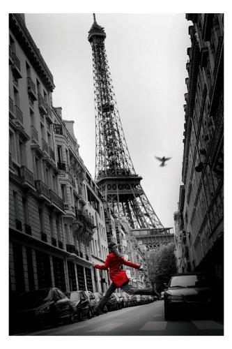 "Paris Tour Eiffel-Red Coat-Giacca, colore: rosso, 61 x 91,5 Cm, motivo: manifesto/Poster """