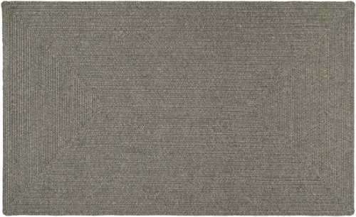 4' x 6' Intertwisted Plait Solid Gray Braided Outdoor Area Throw Rug