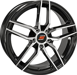 18×7.5 Sendel S26 Black Mirror Wheel Rim 5×108 5×4.25 +38mm Offset 73.1mm Hub Bore