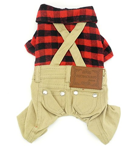 SMALLLEE_LUCKY_STORE Pet Clothes for pets Red Plaid Shirts Sweater with Khaki Overalls Pants Jumpsuit S (Teacup Clothes compare prices)