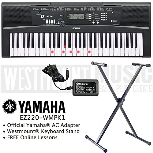 yamaha-ez-220-key-lighting-keyboard-including-ac-adapter-westmountr-stand-and-free-online-lessons