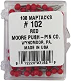 Moore Push-Pin Map Tacks, Red