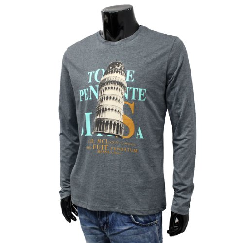 Mens 2013 NEW Tower Letters Printed Long Sleeve Round Neck Shirt Tops