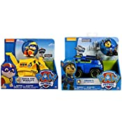 Paw Patrol Pup Vehicle Bundle Of 2 Characters: Super Pup Rubble With Crane And Spy Chase