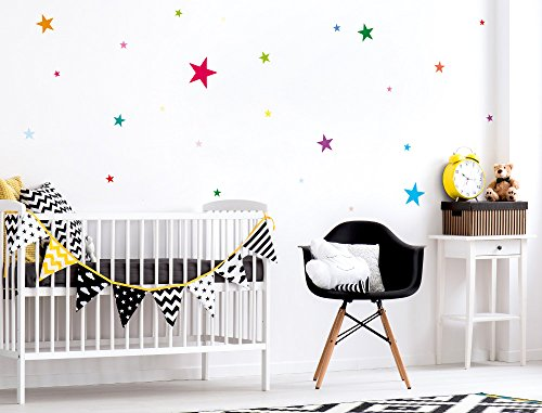 i love wandtattoo was 10103 kinderzimmer wandsticker set bunte sterne zum kleben wandtattoo. Black Bedroom Furniture Sets. Home Design Ideas
