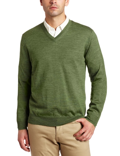 Calvin Klein Men's Long Sleeve V-Neck Merino Sweater