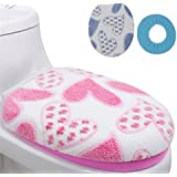Alcoa Prime 2pcs Set Warm Thick Toilet Cover Coral Fleece Potty Cover Coat Round Ring Bathroom Toilet Set Blue...
