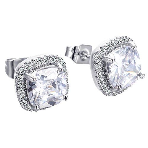 Adeser Jewelry White Diamonds Valentine's Day White Gold Wedding Gift CZ for Girls Studs Earrings