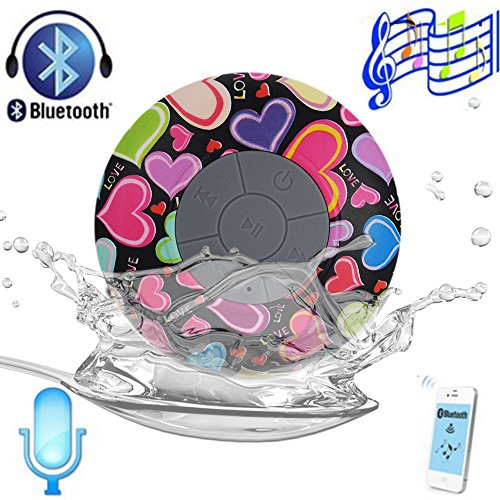 Victsing Heart-Shaped Waterproof Bluetooth Speaker Portable Wireless For Shower With Speakerphone Compatible With Iphone 5S 5C 5 4S 4 Ipod Ipad Samsung Galaxy S5 S4 S3 S2 Note 3 2 Smartphones Laptop Tablets Bluetooth Devices