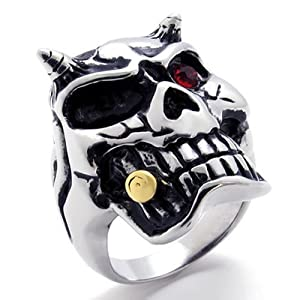 KONOV Jewelry Gothic Biker Skull Men's Stainless Steel Ring - Silver Red Black (Available in Sizes 8 - 14) - Size 10 (with Gift Bag)